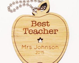 Personalised Best Teacher Bamboo Keyring