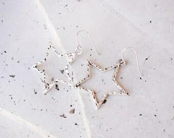 large star earrings, silver star earrings, star dangle earrings, silver dangle earrings, 90s jewelry, 90s fashion