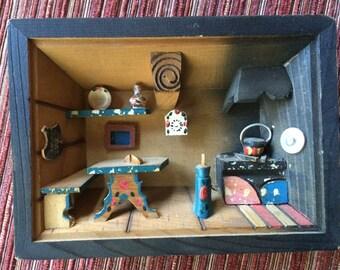 Wood Diorama,Kitchen Diorama,Kitchen Folk Art,German Kitchen,German Diorama,Wood Diorama Kitchen,Black Forest Folk Art,