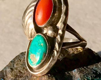 Vintage Navajo Old Pawn Sterling Silver Ring - Vintage Jewelry,  Navajo Rings, Old Pawn Rings, Navajo Turquoise Coral Ring, Fred Harvey Era