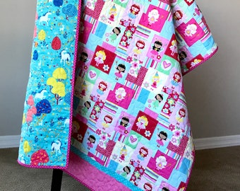 Girl Quilt, Fairies and Unicorns Quilt, Toddler girl gift, One of a Kind girl gift,  Enchanted Woodland fairies and Unicorns Pink Quilt.