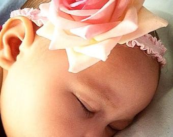 Rose headband, rose baby headband, baby headband, pink rose headband, newborn headband, pink baby headband, birthday headband, wedding rose
