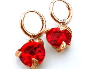 Swarovski crystal earrings,   Red swarovski earrings, 18 K Rose Gold filled swarovski earrings