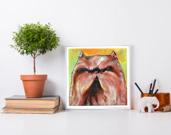Square cat art print - cute cat painting for nursery, persian cat painting, colorful kitty art, orange persian cat art, cat illustration