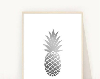 Grey Pineapple Print, Printable art, Pineapple Print, Modern Wall Art, Pineapple Art, Tropical Print, Grey Wall Art, Instant Download