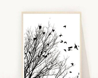 Black And White Print, Birds Print, Minimalist Poster,  Printable Art,  Scandinavian Art, Modern Wall Art, Instant Download, Wall Decor