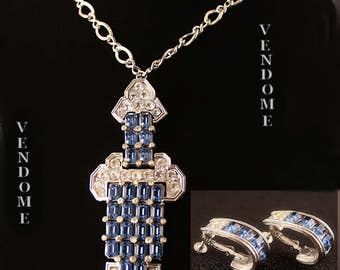 Vintage Vendome Deco Insipired Blue Crystal Rhinestone Necklace and Earrings Set