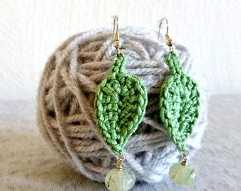 SALE Crochet Leaf Earrings with Tourmalinated Prehnite Dangles || Crochet Jewelry || Crochet Earrings || Boho Earrings || Gift for Her