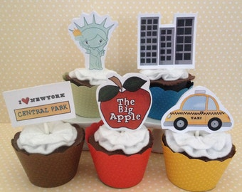 I Love New York City Party Cupcake Topper Decorations - Set of 10