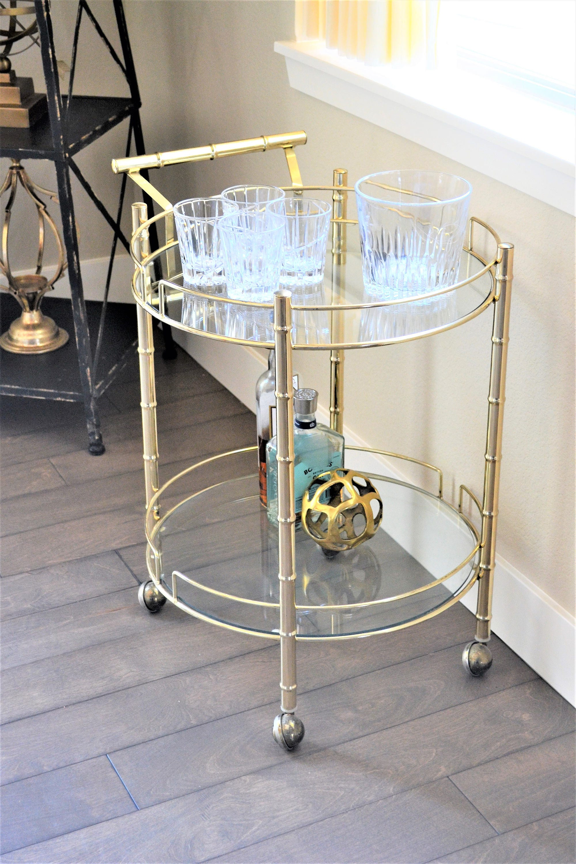 Mid Century Modern Bar Cart Brass Bar Cart Faux Bamboo
