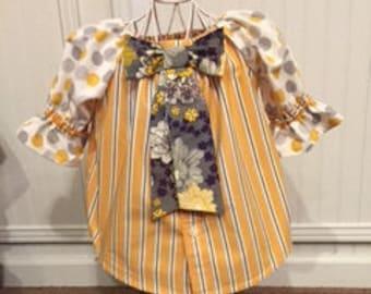 9-12 mos baby girl Peasant Dress, mustard, gray, purple; polka dot, stripes and floral