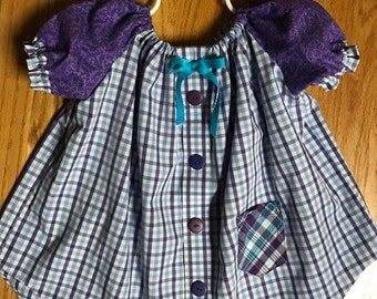 18 Mos - 4T, Peasant Style Dress with Contrasting Puff Sleeves and pocket