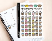 Coffee stickers - 46 planner decoration stickers, coffee date stickers, appointments and meetings over coffee stickers, coffee cup stickers