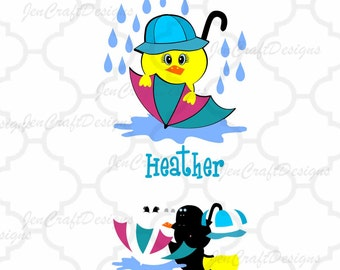 Monogram frame svg Duck Umbrella SVG, EPS,Dxf Jpg and Png Monogram Easter Cutting Files Electronic Cutting Machines Silhouette, Cricut DS