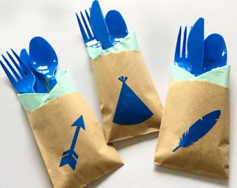 Cutlery Bags - Wild One Party - Pow Wow - Wild One Birthday - First Birthday - Feather - Arrow - Teepee - Baby Shower - Tribal Party - Baby