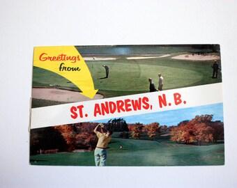 Greetings from St. Andrews New Brunswick Canada Postcard 1963 / Vintage Golfing Postcard /  New Brunswick Souvenir Vintage Golf Course