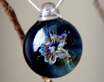 Rainbow Glass Blown Flower Pendant Botanical Boro Lampwork Necklace Hippie Boho Tribal Jewelry Trippy Star Flower Glass Orb Gift
