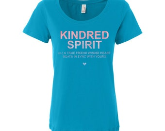 Anne of Green Gables Kindred Spirits Literary Quote Graphic Tee - Bookworm Girls Shirt - Bookishly Bridesmaid Gift - Dictionary Art