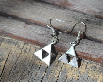 Zelda silver triforce earrings, Zelda silver triforce necklace, Triforce jewelry, Zelda gold jewelry, Zelda costumes, Zelda clothing, Zelda