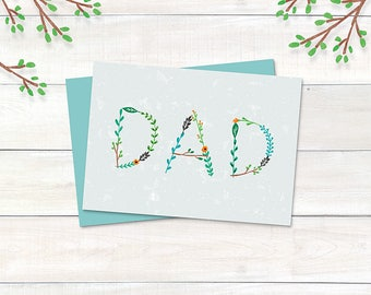 Printable Father's Day Card, Birthday Card - DAD (Gray) -