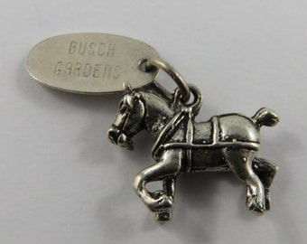 Clydesdale Horse With Busch Gardens Tag Sterling Silver Vintage Charm For Bracelet