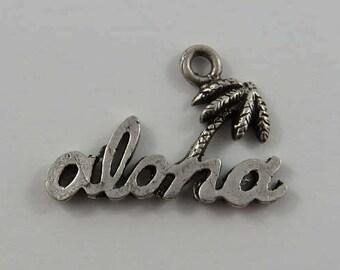 Aloha Palm Tree Sterling Silver Vintage Charm For Bracelet