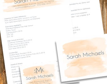 digital printable sorority recruitment packet with resume added - Sorority Resume