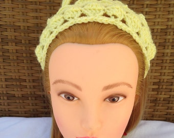 Crochet Tiara for Baby Shower - Yellow Tie On Princess Crown Headband