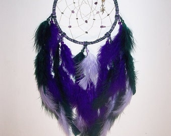 "Purple- Green Amethyst- Emerald Fairy Inspired ""Ivy"" Dream Catcher"