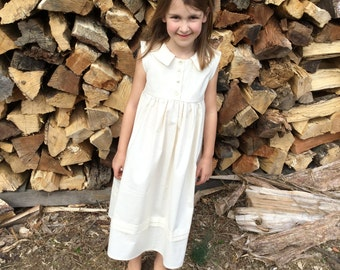 4T Linen Rustic Flower Girl Dress