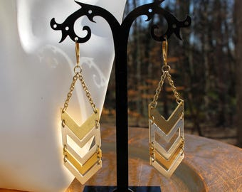 Chevron Dangle Earrings in Silver and Gold with 14k Gold filled Lever Backs