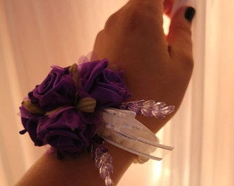 Purple Corsage and Boutonniere Set