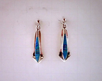 Opal Inlay and Sterling Silver Southwestern Earrings - #480