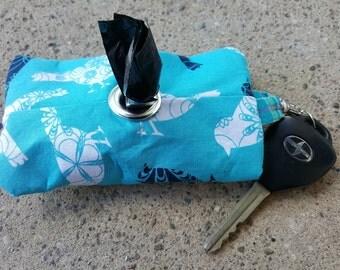 Blue and White Floral Birds Doggie Waste Bag Dispenser Keychain