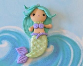 Mermaid Charm, Polymer Clay Mermaid, Mermaid Necklace, Mermaid Jewelry, Polymer Clay Charm, Kawaii Mermaid