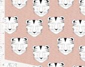 Tigers Elvelyckan Designs Gots Certified Cotton Jersey in Dusty Pink  **UK seller**
