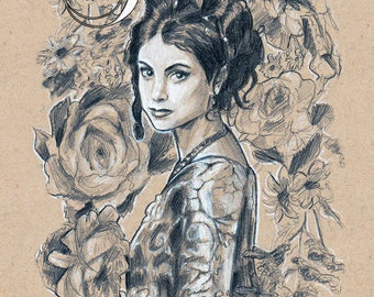 Inara Serra - print of Firefly fanart drawing - space western, Morena Baccarin, Joss Whedon, TV shows, TV characters