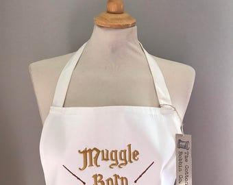 Harry Potter Inspired Muggle Born Wand Embroidered Apron Harry Potter Gifts Harry Potter Adult Wand Apron
