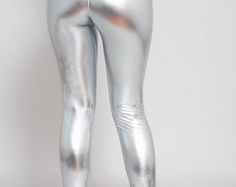 Silver Metallic Leggings. Disco Leggings. Shiny Leggings. Faux Leather Leggings. High Waist.