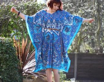 Blue Mandala Kaftan - Hippie Boho Bohemian Top Dress Goa Tapestry Festival Hippy Gypsy Yoga Pagan Witch Pixie Faerie - Size 6 8 10 12 14 16