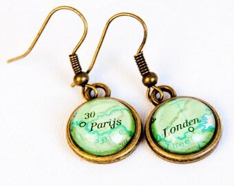 Custom map earrings, custom city earrings, personalized anniversary gift, map jewelry, statement earrings, dangle earrings, brass finish