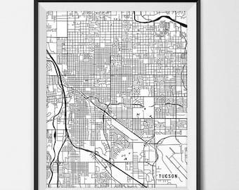Tucson Map Print, Tucson Art Poster Custom City Map Art Tucson Arizona Map of Tucson Gift State Map Decor