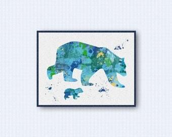 Polar Bear Watercolor Poster