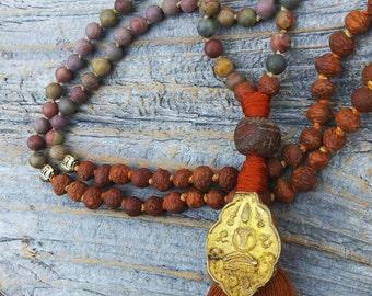 Bodhi Seed Thai Buddha Amulet 108 Mala, Matte Chinese Rainbow Jasper Mala , Buddhist Prayer Beads, Earthy Boho Brown Mala, Thai Buddha Mala