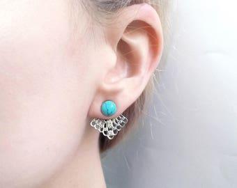 Boho silver oriental turquoise convertible earrings | Filigree ear jackets | Lace indian earrings | Behind back ear jacket | Lace ear studs