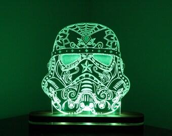 Stormtrooper Star Wars Original Sugarskull Cool Acrylic Desk Lamp / Night light Gift Personalised Garage Mancave Edge Lit