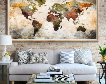 World Map Push Pin Poster Print World Map Wall Art World Map Home Decoration  World Map