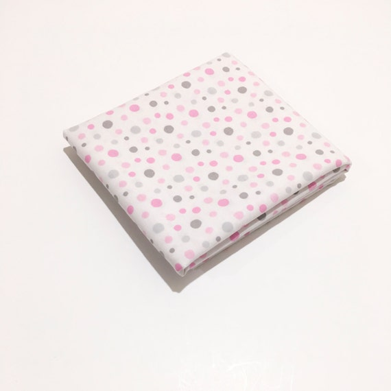 Pink and gray scatter dots fabric pink and gray polka on for Pink and grey nursery fabric