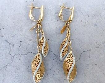 18k Yellow Gold Italian Neonero Filigree Dangle Earrings