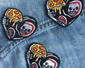 Grim Reaper Pizza Patch, Pizza Lover Heart Patch, Stick On Patch